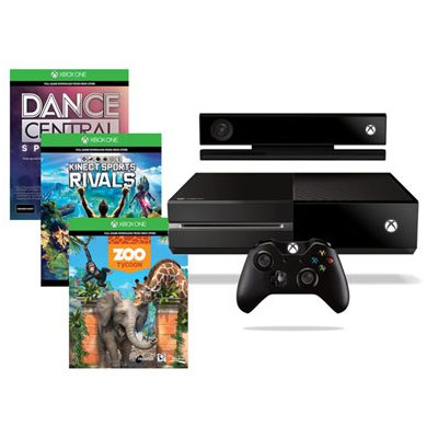 Xbox One 500GB c/ Kinect + Game Dance Central + Game Kinect Sports Rivals + Game Zoo Tycoon